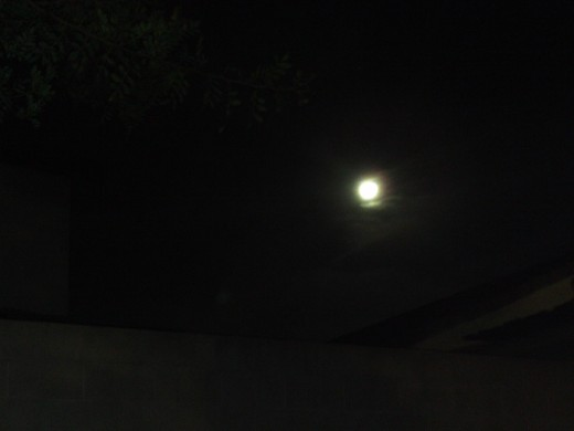 The shining moon in the sky.