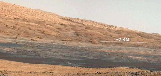 A white-balanced image taken by Curiosity's mastcam. Curiosity's cameras are designed to take detailed views in the dim, dusty light of Mars, then, JPL's techs adjust the lighting to show what it would like in Earth's sunlight.