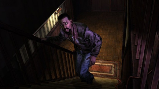 Lee sneaking upstairs in The Walking Dead Episode 2