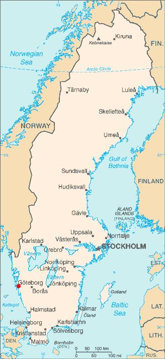 Map location of Gothenburg, Sweden
