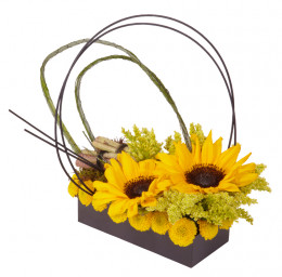 Beautiful, but simple. Sunflowers and cut short and just placed in the foam, with other yellow flowers and fillers spaced around. Foliage or medollino sticks can then be used to embellish the final design.