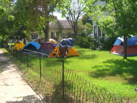 Mom's yard during the rally is full of tents.