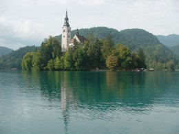 Lake Bled island with church in Slovenia
