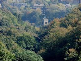 Holme Bridge church - a landmark pointed out by Cleggy when he climbed the tallest tree in the area, only to find he couldn't get down again