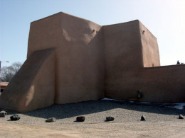 The back side of the Ranchos de Taos Mission Church has no windows