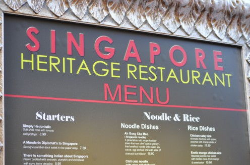 Singapore Heritage Restaurant- try Classic Local menu.