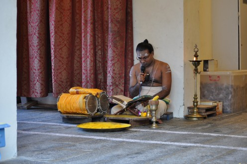 Bhagavad Gita reciting by Temple priest in front of Krishna Mandapam.