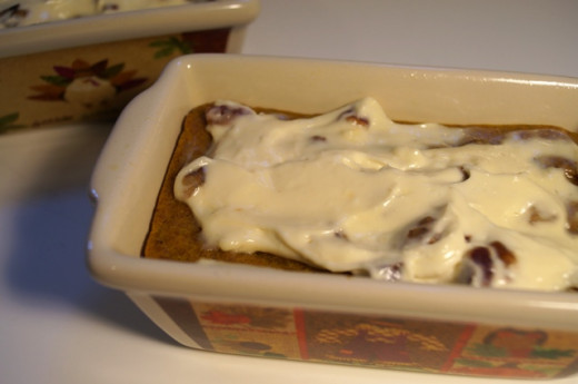 Spiced Pumpkin Bread with Cream Cheese Topping