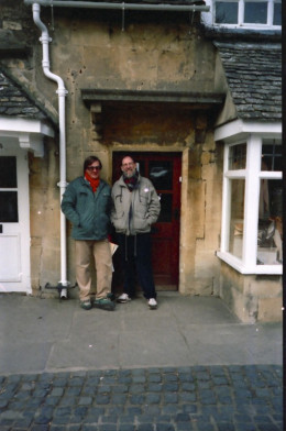 In 1993 we went to the Cotswolds together and this photo was taken of the two of us in a doorway - can't remember the name of the village now!