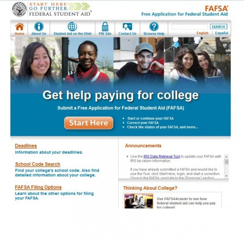 Screenshot: FAFSA