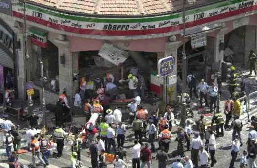 Sbarro pizza restaurant bombing in Jerusalem, in which 15 Israeli civilians were killed and 130 were wounded by a Hamas suicide bomber.