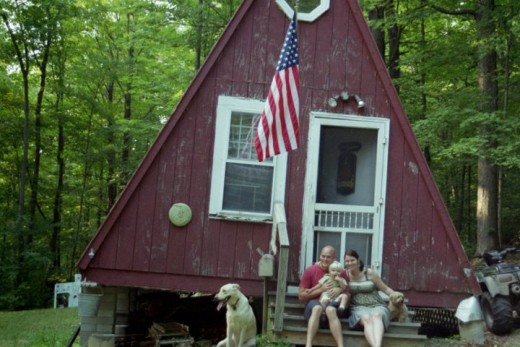 Camping in a cabin in Vermont
