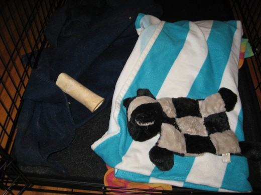 Dog Crate Training includes making the cage as comfortable as possible, with blankies and toys.