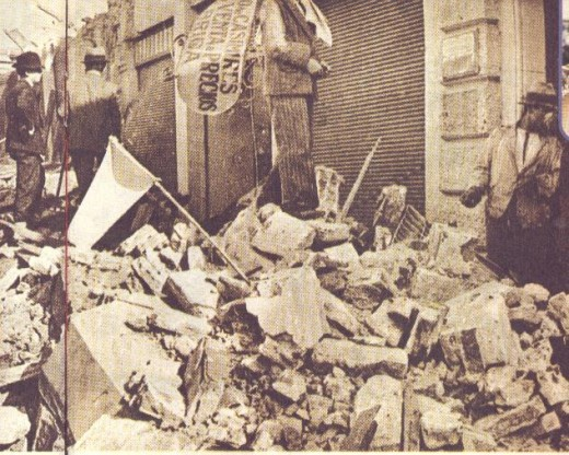 A view of one of the streets in Concepcion, 1939 eartquake