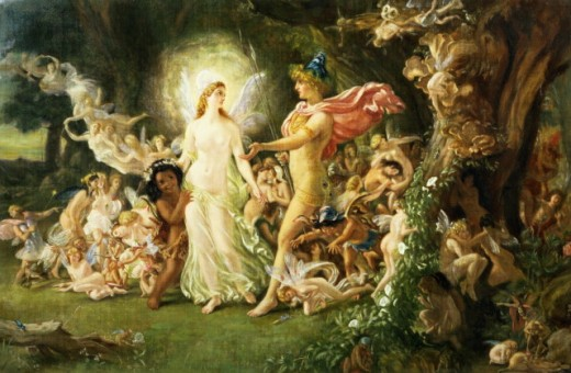 "Illustration of the faery world from Shakespeare's ""A Midsummer Night's Dream,"" showing Queen Titania and King Oberon and their faery world."