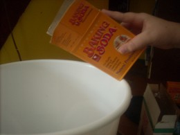 Putting in the baking soda