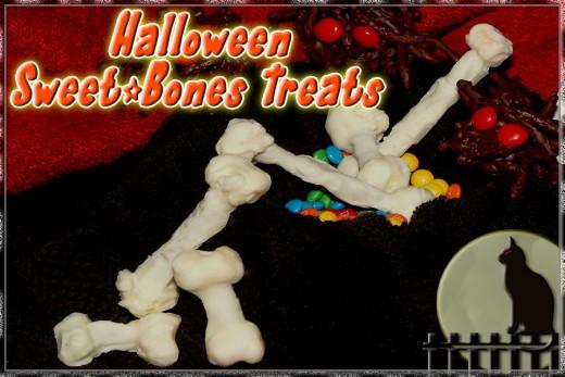White chocolate and pretzel sweet bones
