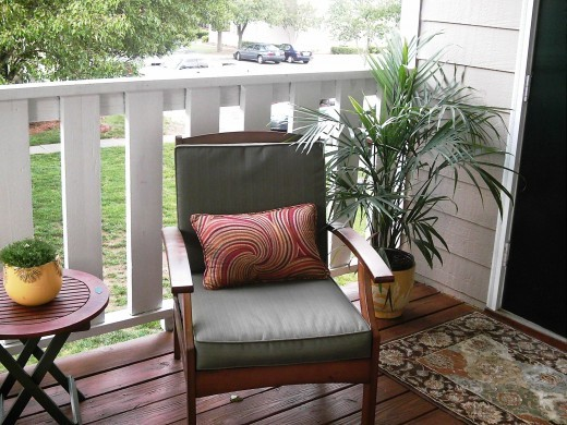 how to decorate an small patio on a budget before and. Black Bedroom Furniture Sets. Home Design Ideas