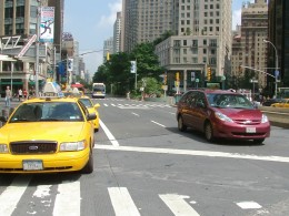 Crossing a street in 59th street Columbus Circle