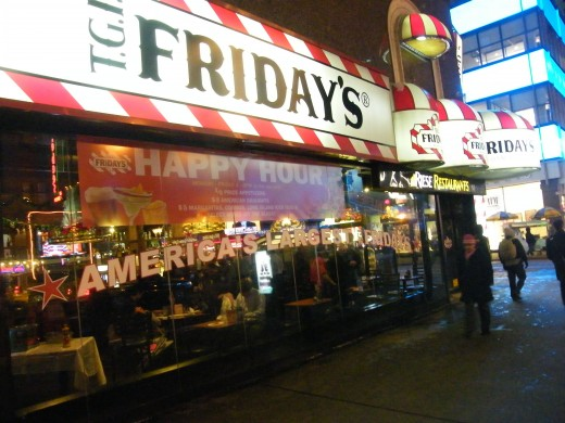 TGI-Fridays is a happy, festive place to go - especially on with a discount.  This TGI Friday's is located in New York City.