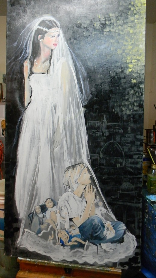 unfinished sketch..acrylic on linen..will be completed in oil.