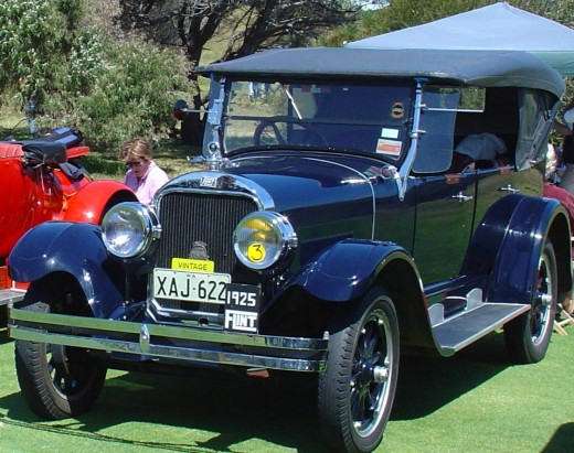 "This 1925 Flint falls within the vintage car time-frame, note its yellow tag stating ""Vintage"".  Originally from the US, it is displayed here in West Australia."