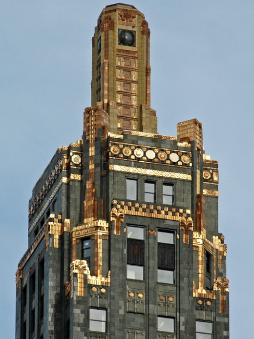 Detail of the upper floors of the Hard Rock Hotel Chicago.