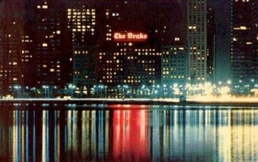 Vintage 1960s postcard of The Drake as taken from North Avenue pier.  The pink neon sign still shines over the water today.