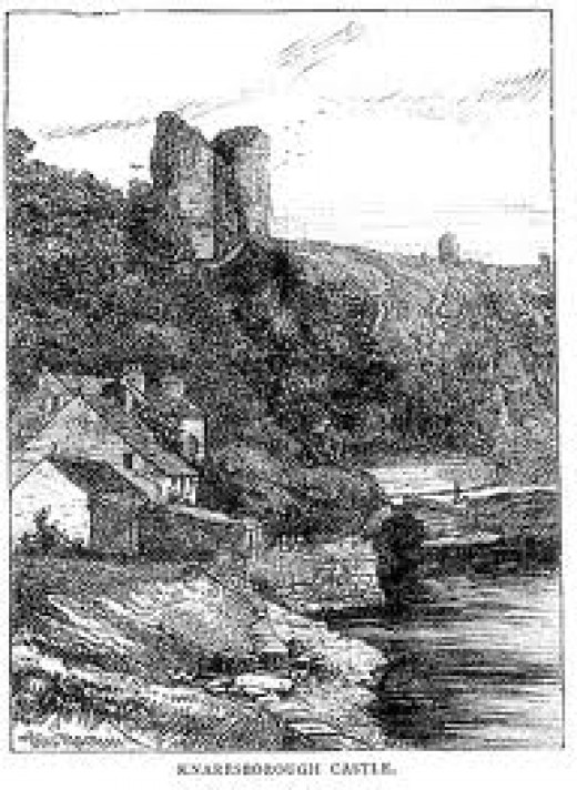Knaresborough Castle in earlier times, etched into history