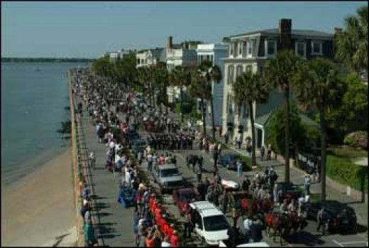The Charleston Battery area on the day of the funeral for the crew of the CSS Hunley.
