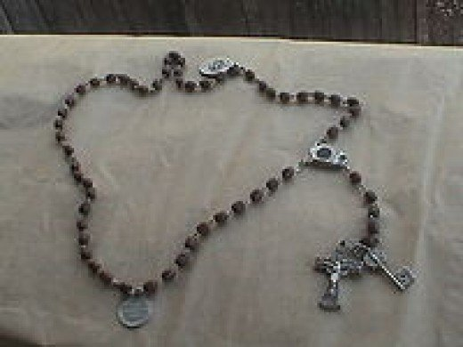 Hand-carved Roman Catholic rosary beads.