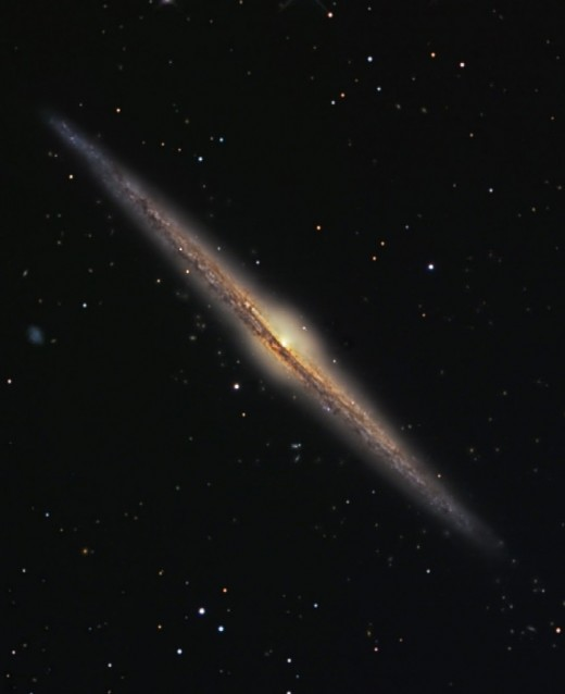 In edge-on barred spiral galaxies, you can see the bar structure even in a side view.