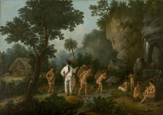 A painting by Jean-Baptiste Debret from around 1820-30 about a slave hunter and the indians he captured