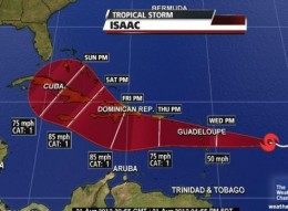 Path of Tropical Storm Isaac