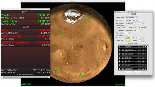 Screenshot of the Mars24 Sunclock, a downloadable Mars clock application for Windows, Mac OS X, and Linux.