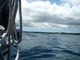 Taking a trip out into the ocean around Kadena Marina in a sailboat rented from the Marina