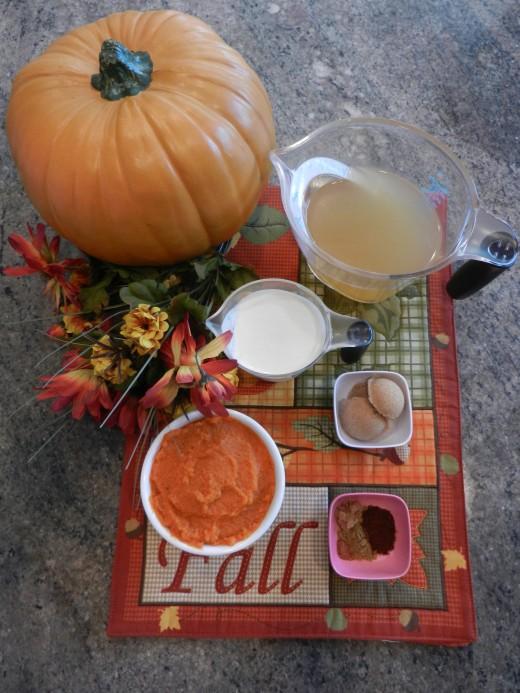 Ingredients for pumpkin soup.