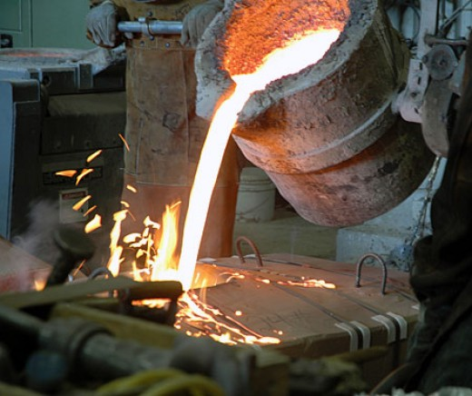 Pouring bronze into mold