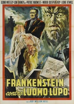 Frankenstein Meets the Wolfman (1943) Italian poster