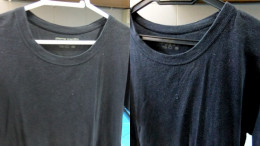 My old faded black Tee Shirt given the used tea leaves treatment: before (left) and after (right) treatment