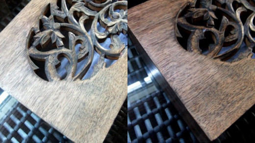 My wooden box before (L) and after (R) given the used tealeaves and tea bags treatment.