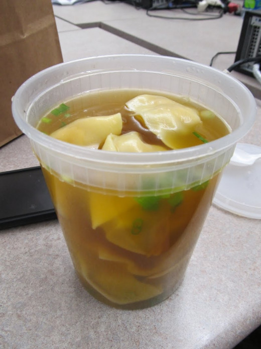 Wonton soup containers from Chinese takeouts are a great place to store sugar, flour, cereals, as well as beads, receipts, screws, or your fast food condiments, etc.