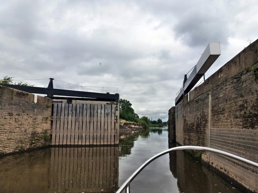 The gate opening for us to leave the lock