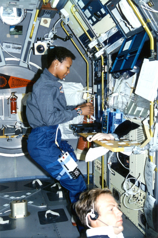 Jemison aboard the space shuttle.
