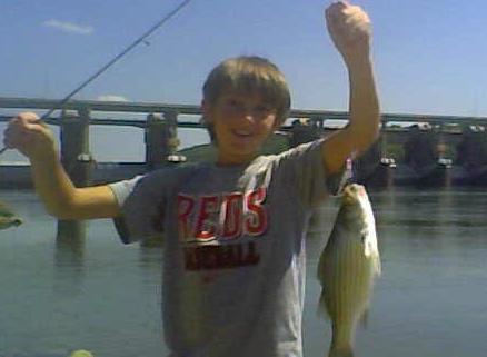 Adam Hoff Hoists a Nice Late Summer Hybrid Striped Bass Caught on the Ohio River Below Markland Dam