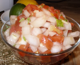 This is my simple salsa with Serrano peppers.