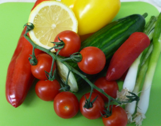 A variety of vegetables for the salad