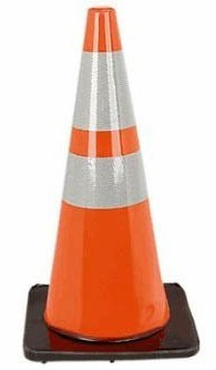 A shiny, high-visibility orange safety cone