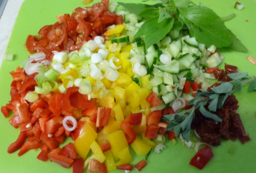 Chopped vegetables for the couscous salad