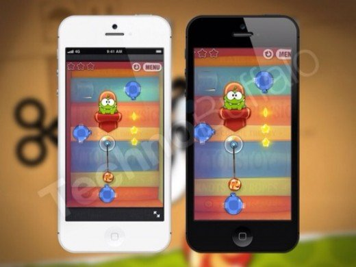 Cut The Rope running on an iPhone 5 (Mockup)